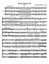 Brahms Piano Quartet No.3 - Score, Parts